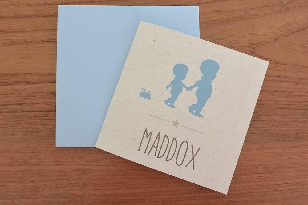 Het geboortekaartje van Maddox